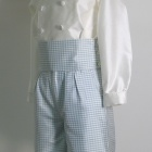 Blue Gingham Check Silk Shorts