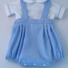 Blue Gingham Baby Romper Set