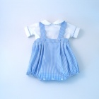 Blue Gingham Baby Romper Set