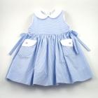 Blue Stripe Seersucker Sleeveless Dress