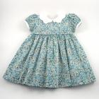 Liberty Teal-Green Petal Wish Baby Dress