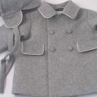 Grey Herringbone Wool Flannel Baby Coat and Cap