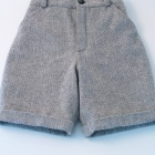 Grey Herringbone Wool Flannel Shorts