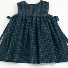Navy Check Baby Pinafore Dress