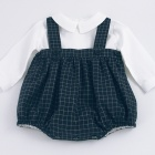 Navy Check Baby Romper and Shirt Set