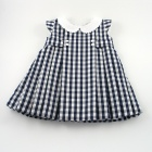 Navy Gingham Pleated Baby Dress