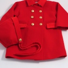Scarlet Red Traditional Baby Coat and Bonnet