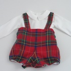 Red Tartan Baby Romper and Shirt Set