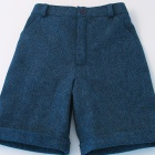 Petrol Blue Wool Tweed Shorts