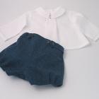Petrol Blue Wool Tweed Baby Set